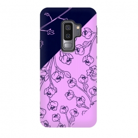 Galaxy S9+  PINK BLUE FLORAL PATTERN by MALLIKA