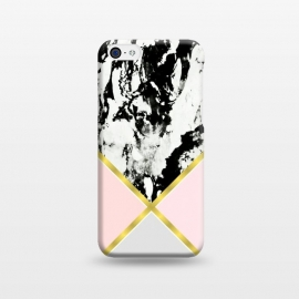 iPhone 5C  Pink geometric and black marble by Jms