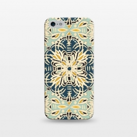 iPhone 5/5E/5s  Protea Pattern in Deep Teal, Cream, Sage Green & Yellow Ocher by Micklyn Le Feuvre