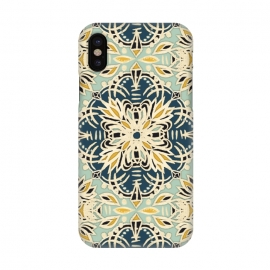 iPhone X  Protea Pattern in Deep Teal, Cream, Sage Green & Yellow Ocher by Micklyn Le Feuvre