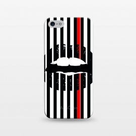 iPhone 5/5E/5s  BLACK LIPS by W-Geometrics (lips,red,white,black,stripes,color)