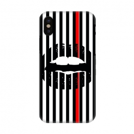 iPhone X  BLACK LIPS by W-Geometrics (lips,red,white,black,stripes,color)
