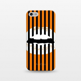 iPhone 5/5E/5s  WHITE LIPS by W-Geometrics (lips,white,black,orange,stripes,patterns)