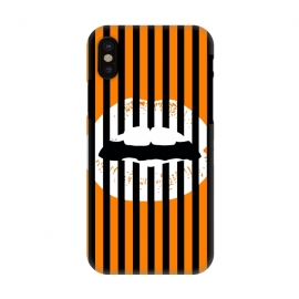 iPhone X  WHITE LIPS by W-Geometrics (lips,white,black,orange,stripes,patterns)