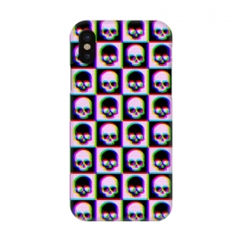 iPhone X  Glitch Checkered Skulls Pattern IV by Art Design Works