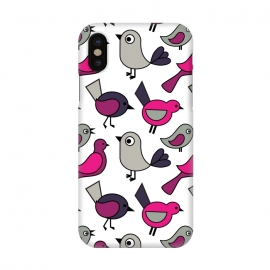 iPhone X  Cute birds by Martina (modern,for kids,for teens,cute,animals,nature,bird,pink,illustration,graphic)