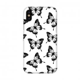 iPhone X  Elegant butterflies by Martina (animal,pattern,black,nordic,scandinavian,nature,butterfly,insect,elegant,modern,minimalist,for her)