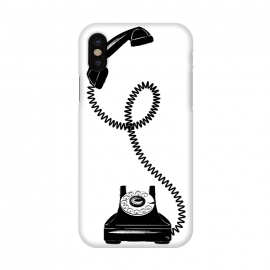iPhone X  Black Vintage Phone by Martina (black,vintage,retro,phone,telephone,illustration,modern,unisex)