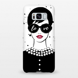 Galaxy S8+  Love Girl by Martina (fashion,illustration,woman,girl,boss,lady,feminine,female,modern,elegant,sunglasses,love,typography,quote,retro,vintage,face,lips)