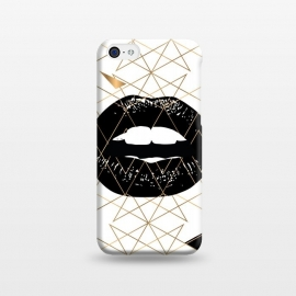 iPhone 5C  GOLD LIPS by W-Geometrics (GOLD,LIPS,TRIANGLE,BLACK,WHITE)