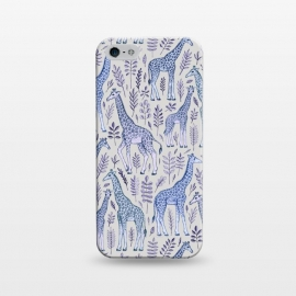 iPhone 5/5E/5s  Little Giraffes in Blue, Purple and Grey by Micklyn Le Feuvre (giraffe,giraffes,micklyn,animals,animal,pattern,drawing,illustration,leaves,leaf,nature,cute,zoo,grey,navy blue,baby,wild,africa,african,spots,dots)