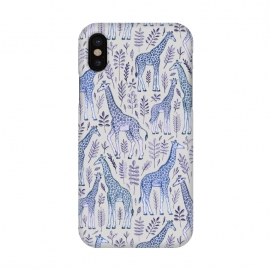 iPhone X  Little Giraffes in Blue, Purple and Grey by Micklyn Le Feuvre (giraffe,giraffes,micklyn,animals,animal,pattern,drawing,illustration,leaves,leaf,nature,cute,zoo,grey,navy blue,baby,wild,africa,african,spots,dots)