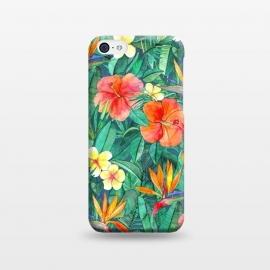 iPhone 5C  Classic Tropical Garden in Watercolor by Micklyn Le Feuvre (tropical,garden,hibiscus,frangipani,plumeria,floral,flowers,jade green,strelitzia,bird of paradise,paradise,nature,leaves,palm,banana,teal,emerald,jungle,island,hawaiian)