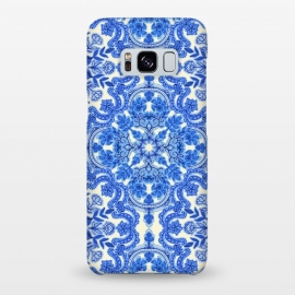 Galaxy S8+  Cobalt Blue and China White Folk Art Pattern by Micklyn Le Feuvre