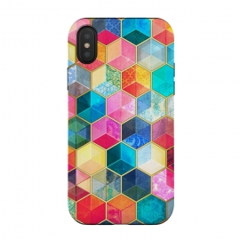 iPhone Xs / X  Crystal Bohemian Honeycomb Cubes by Micklyn Le Feuvre (honeycomb,hexagon,geometric,shapes,crystals,crystal,cubes,stained glass,colorful,micklyn,rainbow,boho,bohemian,pattern,textures,pink,turquoise,magenta,aqua,glass,beautiful,bright)