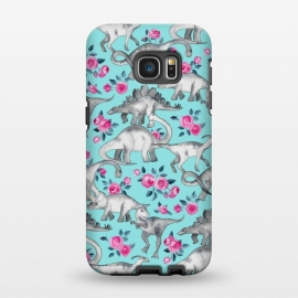 Galaxy S7 EDGE  Dinosaurs and Roses on Turquoise by Micklyn Le Feuvre