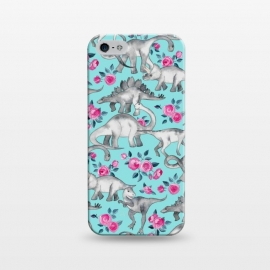 iPhone 5/5E/5s  Dinosaurs and Roses on Turquoise by Micklyn Le Feuvre