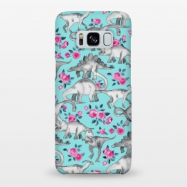 Galaxy S8+  Dinosaurs and Roses on Turquoise by Micklyn Le Feuvre