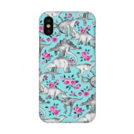 iPhone X  Dinosaurs and Roses on Turquoise by Micklyn Le Feuvre (dinos,dinosaur,roses,floral,cute,kids,illustration,micklyn,pattern,pink,animals,t-rex,triceratops,stegosaurus,dinosaurs,flowers,rose)