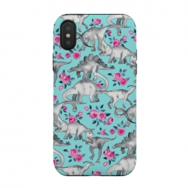 iPhone Xs / X  Dinosaurs and Roses on Turquoise by