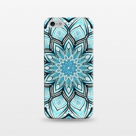 iPhone 5/5E/5s  Turquoise Tribal Mandala on White by Micklyn Le Feuvre