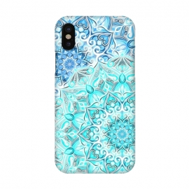 iPhone X  Frosted Mandalas in Aqua and Blue by  (aqua,turquoise,blue,mandala,medallion,boho,bohemian,painted,mandalas,micklyn,neon,bright,colorful,circles,decorative)