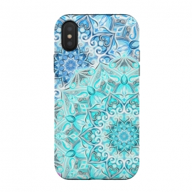 iPhone Xs / X  Frosted Mandalas in Aqua and Blue by Micklyn Le Feuvre (aqua,turquoise,blue,mandala,medallion,boho,bohemian,painted,mandalas,micklyn,neon,bright,colorful,circles,decorative)
