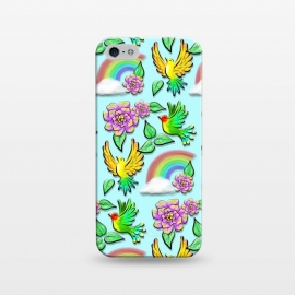 iPhone 5/5E/5s  Birds Flowers and Rainbows Doodle Pattern by BluedarkArt