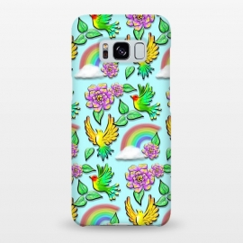 Galaxy S8+  Birds Flowers and Rainbows Doodle Pattern by BluedarkArt
