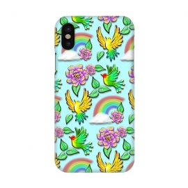 iPhone X  Birds Flowers and Rainbows Doodle Pattern by