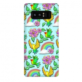 Galaxy Note 8  Birds Flowers and Rainbows Doodle Pattern by BluedarkArt