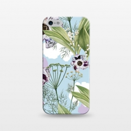iPhone 5/5E/5s  Kaya by Uma Prabhakar Gokhale (graphic design, pattern, botanical, nature, floral, flowers, purple, summer, green, powder blue, leaves, seamless)