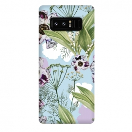 Galaxy Note 8  Kaya by  (graphic design, pattern, botanical, nature, floral, flowers, purple, summer, green, powder blue, leaves, seamless)