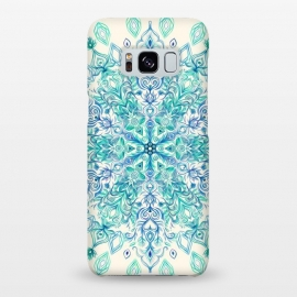 Peppermint Snowflake on Cream  by Micklyn Le Feuvre (mandala,medallion,boho,bohemian,micklyn,doodle,zen,mint green,indigo,cream,detailed,mint,fresh,snowflake)