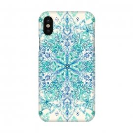 iPhone X  Peppermint Snowflake on Cream  by Micklyn Le Feuvre