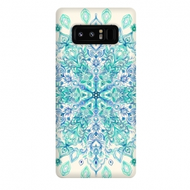 Galaxy Note 8  Peppermint Snowflake on Cream  by Micklyn Le Feuvre