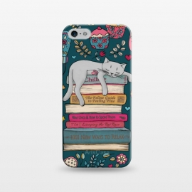 iPhone 5/5E/5s  How to Hygge Like a Cat by Micklyn Le Feuvre (cat,cats,books,chill,micklyn,hygge,cute,illustration,kitten,sleep,funny,fun,typography,teal,cartoon,drawing,sweet,sleepy)