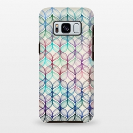 Galaxy S8 plus  Mermaid's Braids - a colored pencil pattern by  (mermaid,pastels,linework,micklyn,abstract,fish tail,patterns,pattern,cream,navy blue,mint green,dark red, lines,magenta,purple)