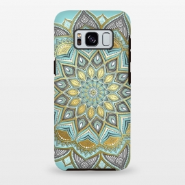 Galaxy S8 plus  Sunny Skies Gilded Lace Medallion by  (mandala,medallion,micklyn,boho,bohemian,doodle,golden,gold,gilded,mustard,yellow,blue,cyan,light grey, lace, lacy, geometry,detailed,beautiful,trendy,trend,girly,cute)