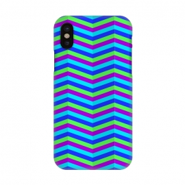 iPhone X  BLUE TRIANGLE LINES PATTERN by MALLIKA