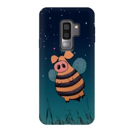 Galaxy S9 plus  Bumblepig by  (bumblepig,bumblehog,piggy,pig,bumblebee,bee,night,sky,stars,grass,wings,fly,cute,sweet,unusual,monster,creature,funny,humor,comic)