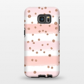 Galaxy S7 EDGE  Pink girly stripes by Martina