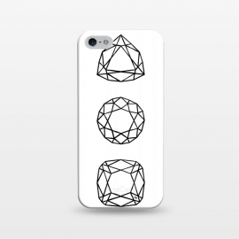 iPhone 5/5E/5s  Black Diamonds by Martina (black and white,diamonds,stones,geometric,modern,stylish,feminine,for her,illustration,graphic)