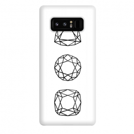 Galaxy Note 8  Black Diamonds by Martina (black and white,diamonds,stones,geometric,modern,stylish,feminine,for her,illustration,graphic)
