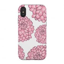 iPhone Xs / X  Pink Chrysanthemum by  (pink,floral,flowers,chrysanthemum,nature,feminine,illustration,modern,stylish,martinaillustration,for her)