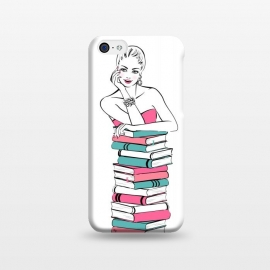 iPhone 5C  Lady Bookworm by Martina (books,bookworm,reading,for her,feminine,female,girl,woman,stylish,modern,illustration,martinaillustration,martina)
