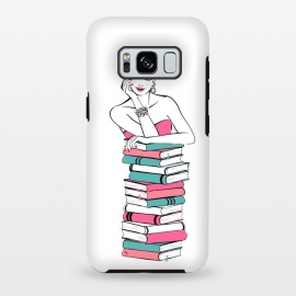 Galaxy S8+  Lady Bookworm by Martina (books,bookworm,reading,for her,feminine,female,girl,woman,stylish,modern,illustration,martinaillustration,martina)