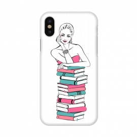 iPhone X  Lady Bookworm by Martina (books,bookworm,reading,for her,feminine,female,girl,woman,stylish,modern,illustration,martinaillustration,martina)