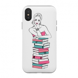 iPhone Xs / X  Lady Bookworm by  (books,bookworm,reading,for her,feminine,female,girl,woman,stylish,modern,illustration,martinaillustration,martina)