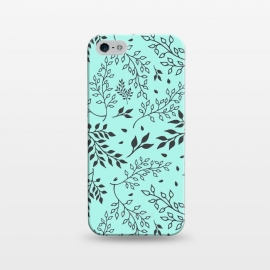 iPhone 5/5E/5s  Leaves Illustrated Mint by ArtPrInk